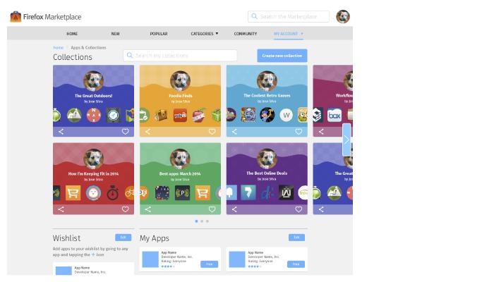 Collections, Wishlist & My Apps Screen: Desktop