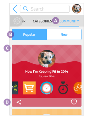 Community screen: mobile