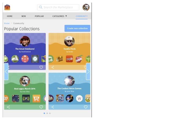 Community screen: tablet